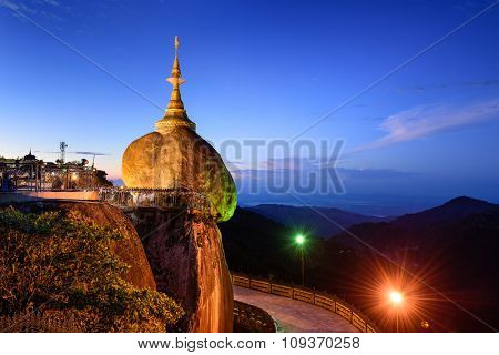 Golden rock of Kyaiktiyo, Myanmar.