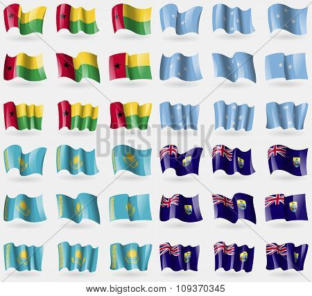Guineabissau, Micronesia, Kazakhstan, Saint Helena. Set Of 36 Flags Of The Countries Of The World. V