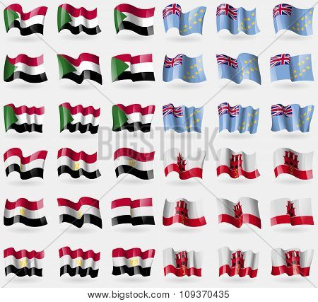 Sudan, Tuvalu, Egypt, Gibraltar. Set Of 36 Flags Of The Countries Of The World. Vector