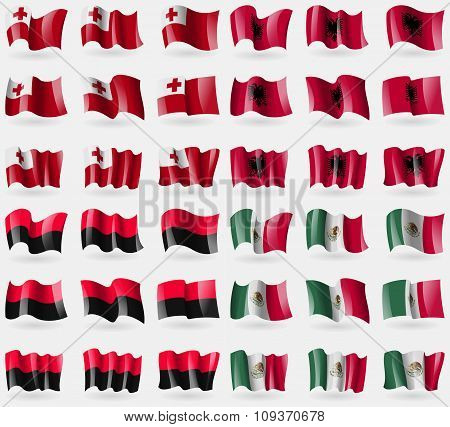Tonga, Albania, Upa, Mexico. Set Of 36 Flags Of The Countries Of The World. Vector