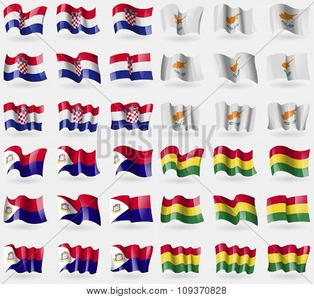 Crotia, Cyprus, Saint Martin, Bolivia. Set Of 36 Flags Of The Countries Of The World. Vector