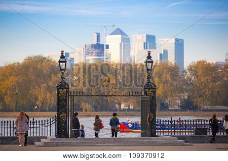 LONDON, UK - OCTOBER 31, 2015: Panorama Panorama of Canary Wharf. View from park, includes River Tha