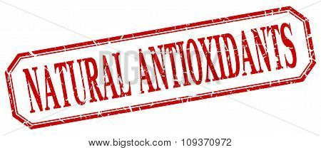 Natural Antioxidants Square Red Grunge Vintage Isolated Label