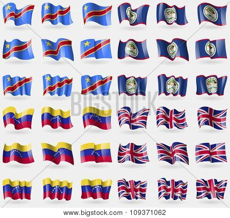 Congo Democratic Republic, Belize, Venezuela, United Kingdom. Set Of 36 Flags Of The Countries Of Th
