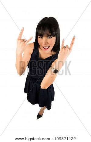 Woman Showing The Rock Sign