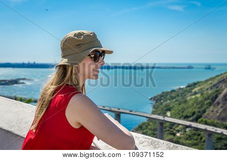 Blonde tourist in Vitoria, Espirito Santo, Brazil
