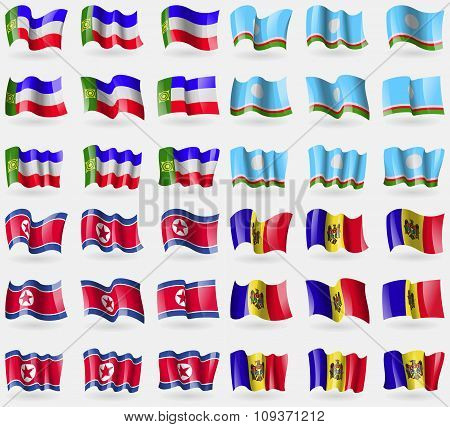 Khakassia, Sakha Republic, Korea North, Moldova. Set Of 36 Flags Of The Countries Of The World. Vect