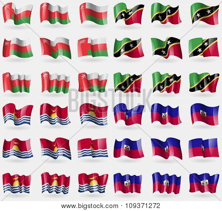 Oman, Saint Kitts And Nevis, Kiribati, Haiti. Set Of 36 Flags Of The Countries Of The World. Vector
