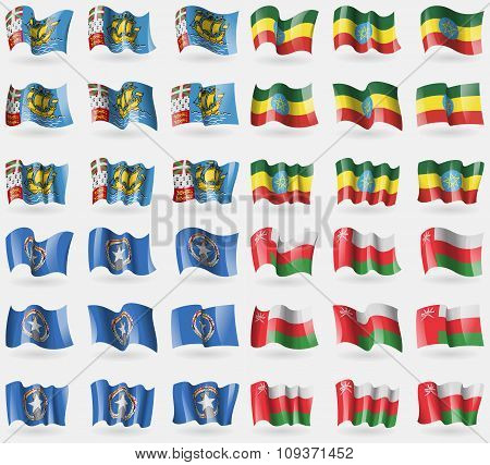 Saint Pierre And Miquelon, Ethiopia, Marianna Islands, Oman. Set Of 36 Flags Of The Countries Of The