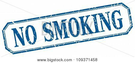 No Smoking Square Blue Grunge Vintage Isolated Label