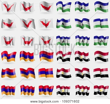 Easter Rapa Nui, Lesothe, Armenia, Egypt. Set Of 36 Flags Of The Countries Of The World. Vector