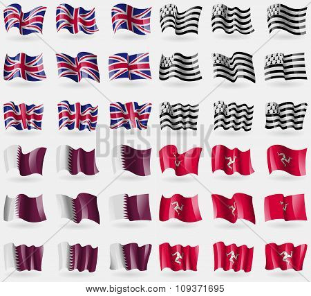 United Kingdom, Brittany, Qatar, Isle Of Man. Set Of 36 Flags Of The Countries Of The World. Vector