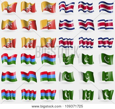 Bhutan, Costa Rica, Karelia, Pakistan. Set Of 36 Flags Of The Countries Of The World. Vector
