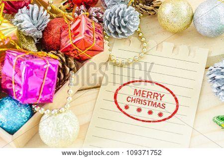 Banner And Logo Saying Merry Christmas.