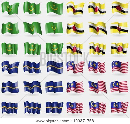Mauritania, Brunei, Nauru, Malaysia. Set Of 36 Flags Of The Countries Of The World. Vector