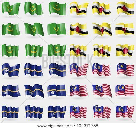 Mauritania, Brunei, Nauru, Malaysia. Set Of 36 Flags Of The Countries Of The World. Vector