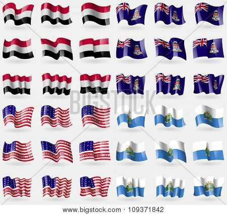 Yemen, Cayman Islands, Bikini Atoll, San Marino. Set Of 36 Flags Of The Countries Of The World. Vect