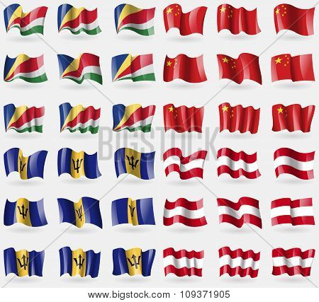 Seychelles, China, Barbados, Austria. Set Of 36 Flags Of The Countries Of The World. Vector