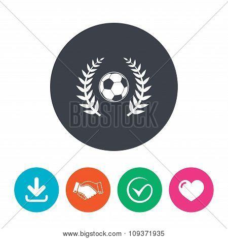 Football ball sign icon. Soccer Sport symbol.
