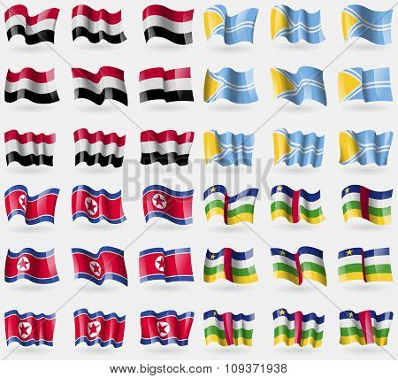 Yemen, Tuva, Korea North, Central African Republic. Set Of 36 Flags Of The Countries Of The World. V