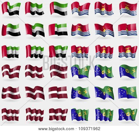 United Arab Emirates, Kiribati, Latvia, Christmas Island. Set Of 36 Flags Of The Countries Of The Wo