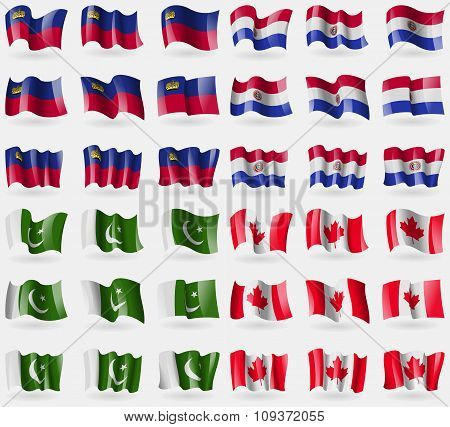 Liechtenstein, Paraguay, Pakistan, Canada. Set Of 36 Flags Of The Countries Of The World. Vector
