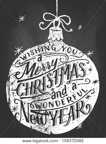 Wishing You A Merry Christmas Chalkboard Lettering