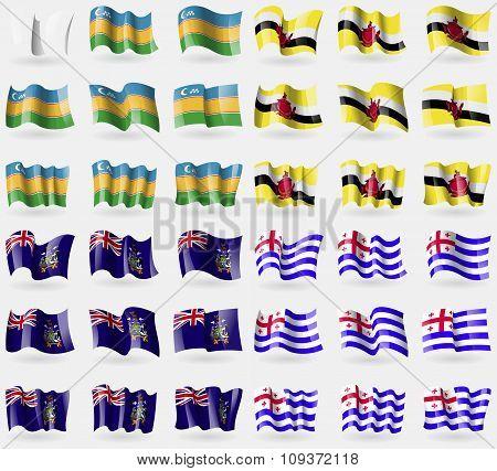 Karakalpakstan, Brunei, Georgia And Sandwich, Ajaria. Set Of 36 Flags Of The Countries Of The World.