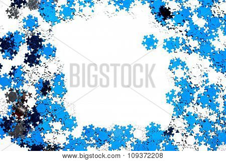 many snowflakes on white background