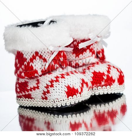 Christmas decoration boot on white background