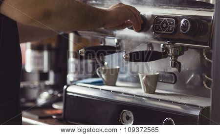 Coffee Machine Makes Two Cup Hot Coffee