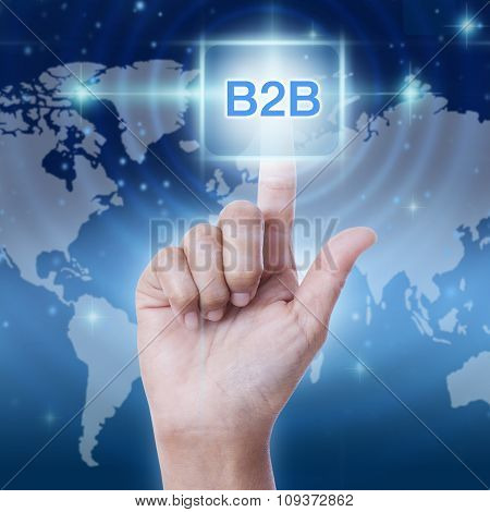 hand pressing b2b sign on virtual screen. business concept