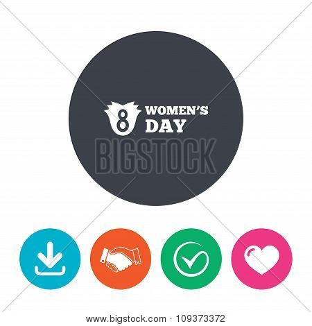 8 March Women's Day sign icon. Flower symbol.
