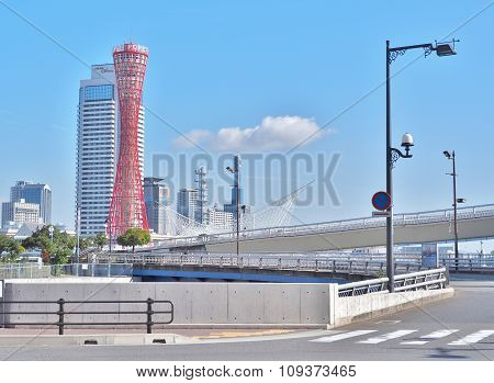 Kobe Port Tower with blue sky in Kobe, Japan.