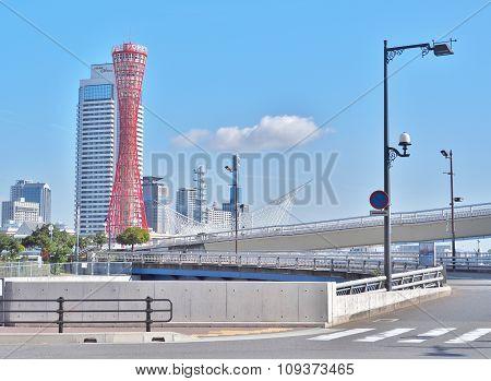 Kobe Port Tower with blue sky in Kobe, Japan.