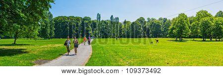 Munich English garden panoramic