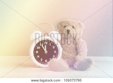 Alarm Clock And Teddy Bear For Background