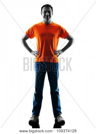 one causcasian man standing Smiling in silhouette isolated on white background