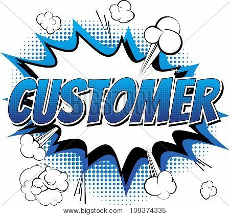 Customer - Comic book style word.