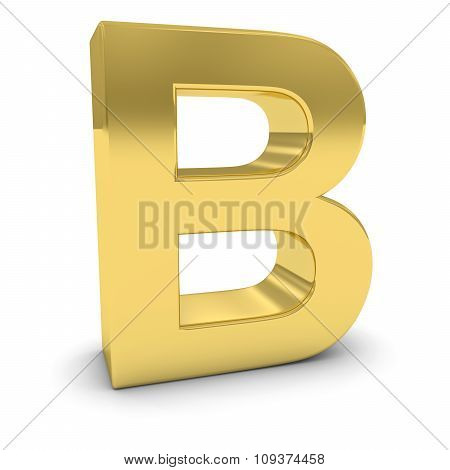Gold 3D Uppercase Letter B Isolated On White With Shadows