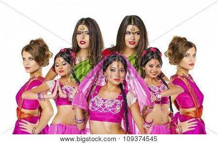 Collage indian women, Young beautiful brunette woman in indian dress
