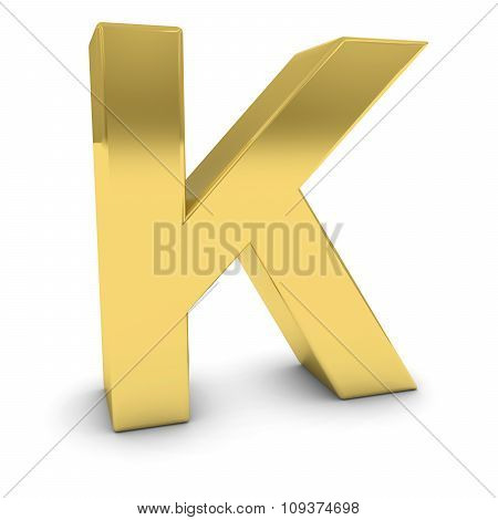 Gold 3D Uppercase Letter K Isolated On White With Shadows