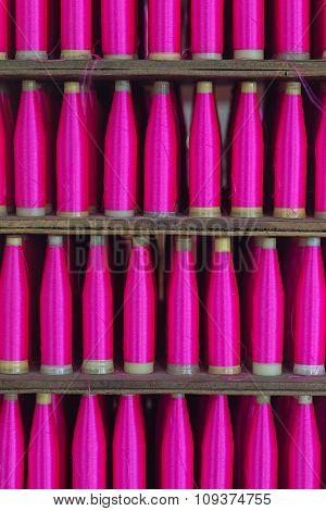 thai silk wrapped on plastic tube, Thai silk tube.