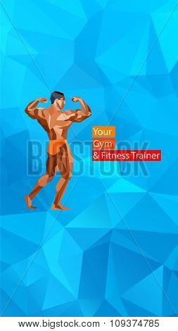 Colored Posing Bodybuilder, Silhouette. Vector Illustration