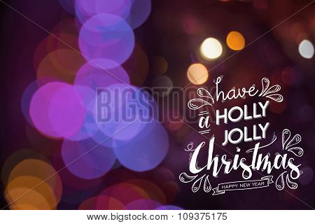 Merry Christmas Happy New Year Doodle Bokeh Card