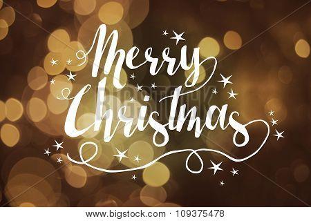 Merry Christmas Card Bokeh Text Star Greeting Card
