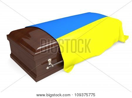 Coffin covered with the national flag of Ukraine