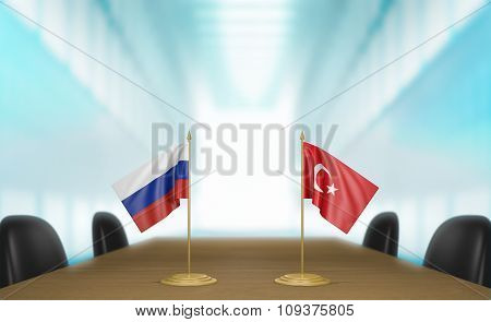 Russia and Turkey relations and trade deal talks 3D rendering