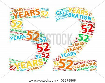 Colorful word cloud for celebrating a 52 year birthday or anniversary