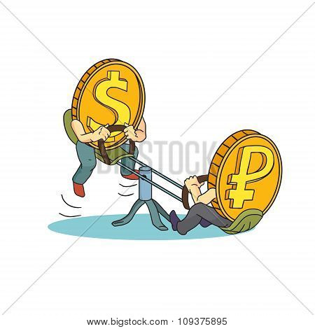 Concept Drawing: High Rate Of Dollar Compared With Russian Rouble. Rouble And Dollar On Teeter.